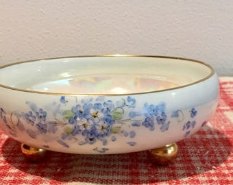 Vintage China Dish / Compote - Forget me not pattern Limoges France