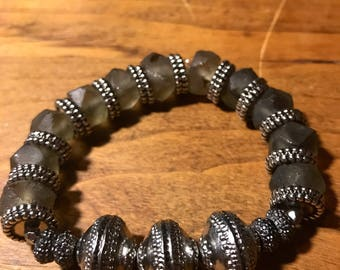 Gray African Glass bead bracelet with silver accents