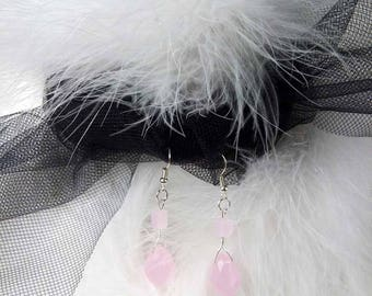 Rose quartz earrings, rose quartz briolette earrings, wire wrapped briolette gemstone earrings, pink earrings, bridal wedding accessory