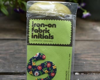 Vintage Iron-on Fabric Initial (  S )   Qty 1