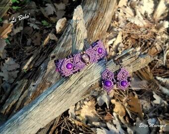 Macrame 'Boho' earrings and bracelet set.