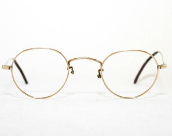 Algha 20 England 40s Round Glasses 1940's Wire Rim Eyeglasses Gold Filled Good Condition FREE SHIPPING Shallow Panto FulVue