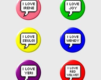 """RED VELVET """"I LOVE"""" Pixel Button+ (Select Style/Choice)"""