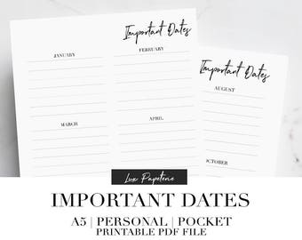 Important Dates, Planner Printable, Planner Inserts, 2018 Planner, Printable Calendar, Personal Planner Inserts, Pocket Planner, A5 Planner