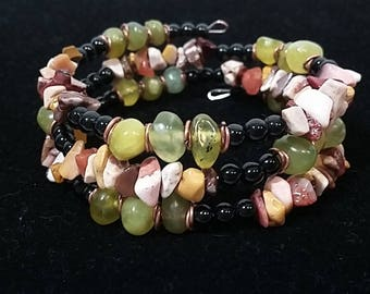 Beaded Green Memory Wire Bracelet with Muticolored Stones and Copper Accents- Only 1 Available