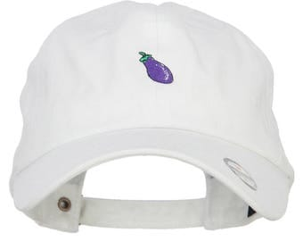 Mini Eggplant Embroidered Unstructed Cap
