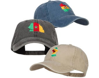 Rasta Map Flag Embroidered Washed Cap