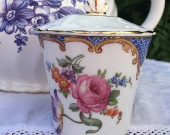 Stunningly Beautiful Pink Rose & Floral Vintage Aynsley Jam Pot, Preserve Pot, Perfect