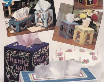 Greetings, The Needlecraft Shop Plastic Canvas Pattern Booklet 89PH3 Special Occasion Tissue Box Covers