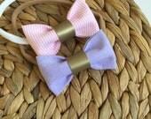 Pink striped baby headband, baby hairband with pink bows, pink striped print baby hair bow headband, summer baby headband set