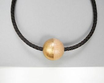 Half golden and leather choker // Maxi wooden bead choker // Black ecological leather choker // wood bead // Gold choker