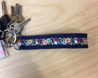 Floral Keychain Wristlet