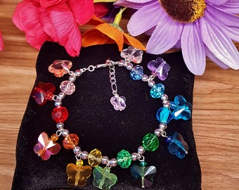 Rainbow of Spring crystal butterflies beaded charm bracelet
