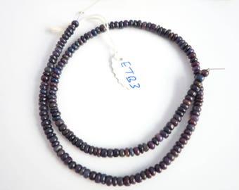 Black Ethiopian Opal Smooth Rondelle  ETB3  ,  Black Opal Beads , Ethiopian Opal Beads