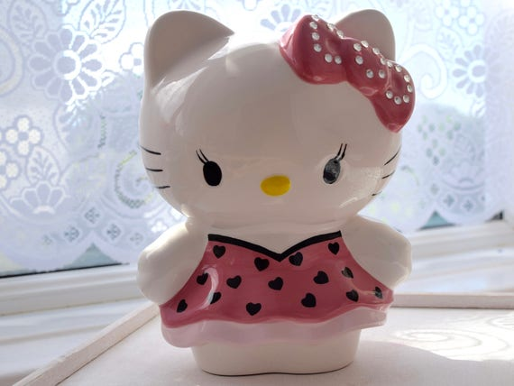 "Hello Kitty, Vintage, Ceramic Money Box, Money Bank, 8.5"" High, Excellent Condition, pink diamante ribbon, pink dress, hearts, savings bank"