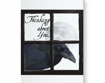 Digital art print on canvas of the raven looking at you through the window, thinking about you, raven in the window, crow in the window
