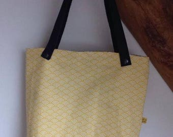 "Bag / tote bag / tote bag ""yellow ferns"" leather handles"