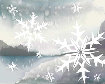 Snowflakes - Watercolor Modern Art Print