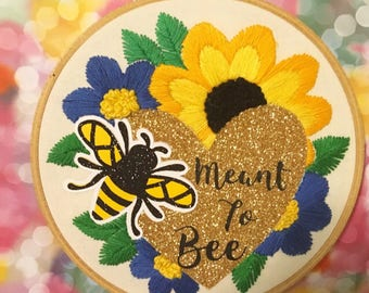 Valentine's Embroidered Art - Meant to Bee - Floral Romantic Hand Embroidered Glitter Hoop Art