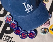 Los Angeles Dodgers Baseball - Custom Player Name & Number Hand Painted Wooden Pin Badge - Perfect Gift for Sports Fans