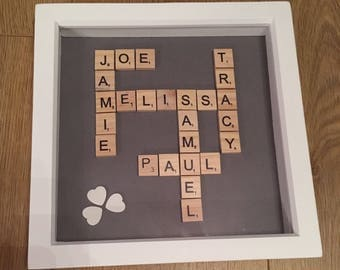 Personalised Scrabble Frames great for any occassion/ Gift/ Scrabble Art/ Birthday / Wedding/ Family