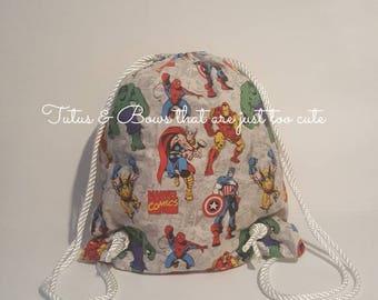 Superhero drawstring bag