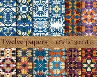 """40% OFF Tiles digital papers: """"ARABESQUE TILES"""" poruguese tiles , tunisian tiles , spanish tiles , abstract pattern , scrapbook papers"""