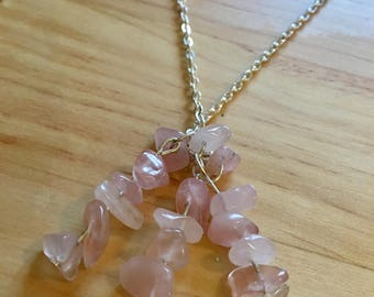 Genuine Rose Quartz Crystal Necklace on a Silver Chain