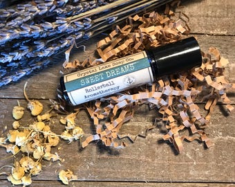 SWEET DREAMS Rollerball Aromatherapy Essential Oil Blend Organic / Lavender Chamomile Clary Sage Balsam Sandalwood Marjoram Ylang Ylang