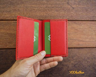 Red wallet leather/ Leather card holder/ Slim wallet leather/ Minimalist leather wallet/ Kangaroo leather/ Gift for her