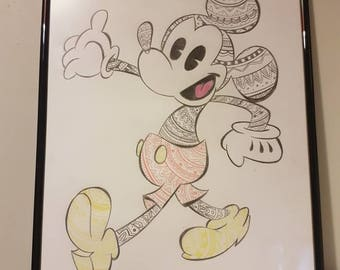 Hand drawn Mickey Mouse print