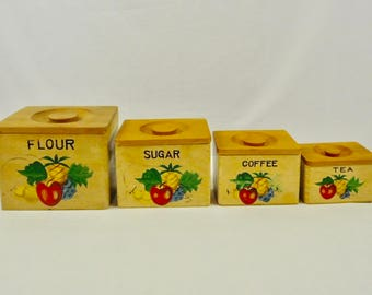 Ucagco Japan Set 4 Wood Canisters Coffee Tea Sugar Flour Nesting Canisters Fruits  Apple, Berry, Lemon, 1950s 1960s Shabby Country Chic