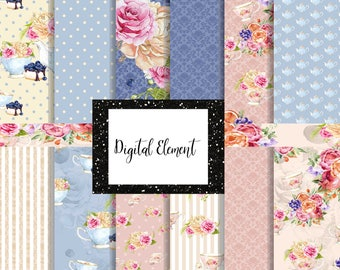 Digital Seamless Paper, Floral Seamless Paper, 6 Inch Digital Paper, Pink and Blue Design Scrapbook Paper. No. P213