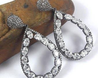 SUMMER SALE 925 Sterling Silver Cz Earrings, Swarovski Earrings, Bridale Earrings Cz Stones Earrings. Black Rhodium Plated Earrings