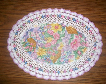 New Easter Springtime Crochet Doily/Handmade Hostess Gift