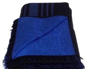 Large 100% Cotton Double Side Pareo Beach Towel Bath Sheet – Black with Blue Stripes Pattern