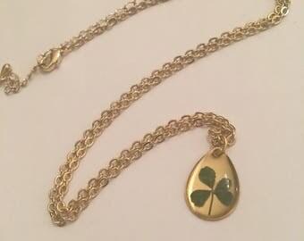 Real Four Leaf Clover Gold Necklace