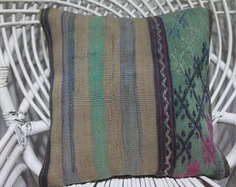 kilim fabric 16x16 moroccan floor pillow 16x16 decorative pillows 16x16 turqoiuse kilim 16x16 bohemian throw pillow 16x16 3994