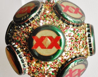 Dos Equis beer bottle cap Christmas ornament