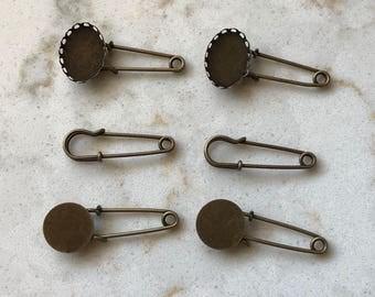 Antique Bronze Safety Pins - Great for Embellishing Junk Journals Scrapbooks - Set of 6