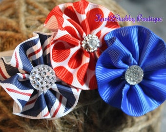 Red White and Blue Cluster Bow with headband