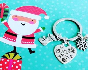 Christmas Keychain, Key chain, Holiday keychain, Christmas, stocking stuffers, Holiday Charms, Christmas Charms, Snowflake gifts