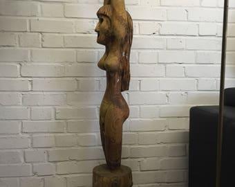 Large solid wood woman sculpture 141cm H