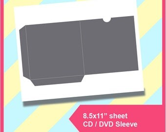"""Cd Sleeve, Dvd Sleeve Template PSD, PNG and SVG, Dxf Formats,  8.5x11"""" sheet,  Printable 198"""