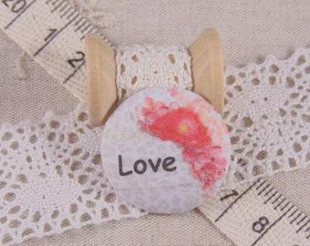 x 1 28mm fabric button love ref A17