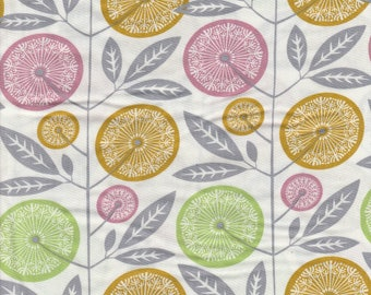 RAYON Fabric - Cali Mod collection by Joel Dewberry - Free Spirit - Pattern Floral Stock, Color Cactus - Green Yellow Pink Flowers on white