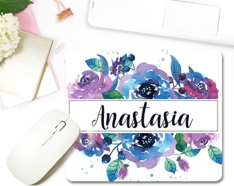 Floral Personalized Mouse Pad Custom Girly Office Decor Home