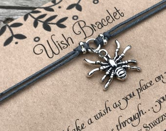 Spider Wish Bracelet, Make a Wish Bracelet, Spider Bracelet, Wish Bracelet, Friendship Bracelet, Halloween Bracelet, Gift for Her