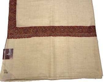 Pure Pashmina Shawl/Wrap, Hand Embroidery, Pure Cashmere Shawl, Floral Design, Sozni Hand Embroidery, Kashmiri Sozni Work, White Shawl