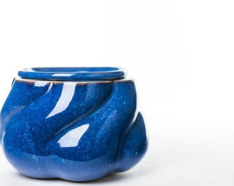 African Violet planter. Two parts, 3d printed and slipcast. Bright Blue Starry Night